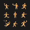 Silhouettes of figures american football player icons set Royalty Free Stock Photo