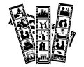 Silhouettes of film with photos vector lovers traveling on a white background Royalty Free Stock Photo