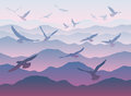 Silhouettes of flying birds over mountains Royalty Free Stock Photo