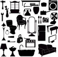 Silhouettes furniture and other objects Royalty Free Stock Photo