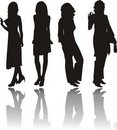 Silhouettes of girls Royalty Free Stock Photography