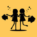 Silhouettes of Girls with Shopping Bags. Friends Royalty Free Stock Photo