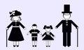 Silhouettes of Grandma, grandpa and grandchildren