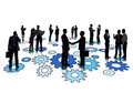 Silhouettes of group of busy business people standing on blue gears Stock Photography