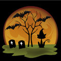 Silhouettes for halloween a lot of black silhouttes of icons in a yellow moon Royalty Free Stock Image