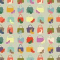 Silhouettes of handbag,shoes.Seamless pattern Royalty Free Stock Photo