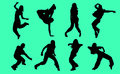 Silhouettes of hip hop dancers illustration on a green background Stock Photography