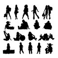 Silhouettes of the kids this is file eps format Royalty Free Stock Image