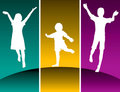 Silhouettes of kids jumping Stock Images