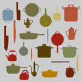 Silhouettes of Kitchenware  ,  for background Royalty Free Stock Photo