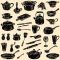 Silhouettes of the kitchenware Royalty Free Stock Photo