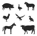 Silhouettes of livestock.