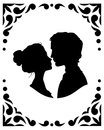 Silhouettes of loving couple black and white Royalty Free Stock Image