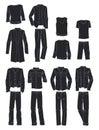 Silhouettes of men`s autumn clothes Royalty Free Stock Photo