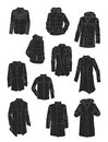 Silhouettes of men's jackets and coats Royalty Free Stock Photo