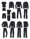 Silhouettes of men`s sportswear Royalty Free Stock Photo