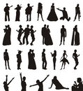 Silhouettes of men and women Stock Photography