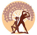 Silhouettes of men and women in athletic poses on a tree silhouette Stock Photography