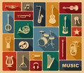 Silhouettes of musical instruments various in retrostyle Stock Images