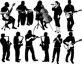Silhouettes of musicians