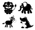 Silhouettes patchwork animals isolated on white сartoon illustration Stock Photo