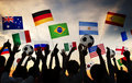 Silhouettes of People Gathered for 2014 FIFA World