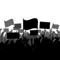 Silhouettes of people protesting