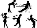 Silhouettes of people the restaurant business Royalty Free Stock Photo