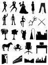 Silhouettes people, robots, offices, scenes Royalty Free Stock Image