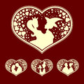 Silhouettes of the Prince and Princess, young people with heart retro, set