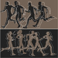 Silhouettes of runners simple abstract running men and women Royalty Free Stock Images