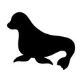 Silhouettes of seal black and white vector illustration