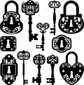 Silhouettes set keys keyhole locks Royalty Free Stock Image