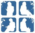 Silhouettes of sitting women Royalty Free Stock Images