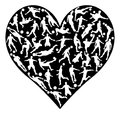 Silhouettes Soccer Heart
