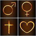Silhouettes symbols heart, Venus, Mars and cross Royalty Free Stock Photo
