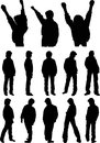Silhouettes of teenagers the illustration shows the young people in various poses they stand walk and raise their hands up Royalty Free Stock Photo