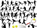 Silhouettes of tennis player Stock Image