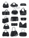 Silhouettes of various bags Royalty Free Stock Photo