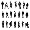 Silhouettes of walking,standing, sitting people, carrying bag, talking on the phone etc, Hand drawn vector sketch