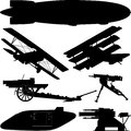 Silhouettes of weapons from world war i great war various kinds Stock Photo