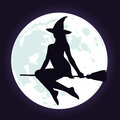 Silhouettes of witch on broomstick and moon.