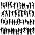 Silhouettes of women and men Royalty Free Stock Photo