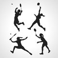 Silhouettes of women professional badminton players. Vector set Royalty Free Stock Photo