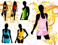 Silhouettes women swimwear Royalty Free Stock Photos