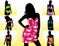 Silhouettes women swimwear Stock Photography