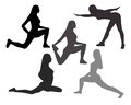 Silhouettes of Women in Yoga poses and sport exercises on a whit