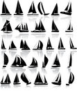 Silhouettes of yachts Stock Photos