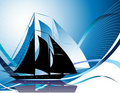 Silhouettes of yachts Stock Photo