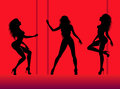 Silhouettes of young dancing beautiful woman Royalty Free Stock Photo